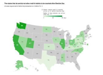 States that do and don't allow mail-in ballots to be counted after Election Day